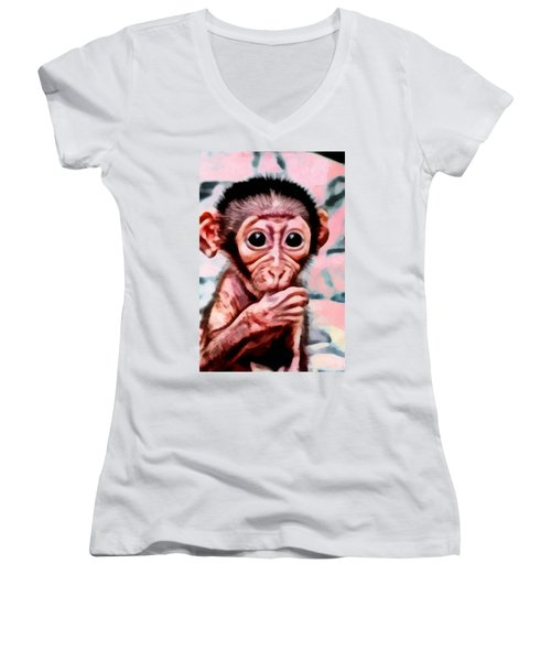 Baby Monkey Realistic Women's V-Neck