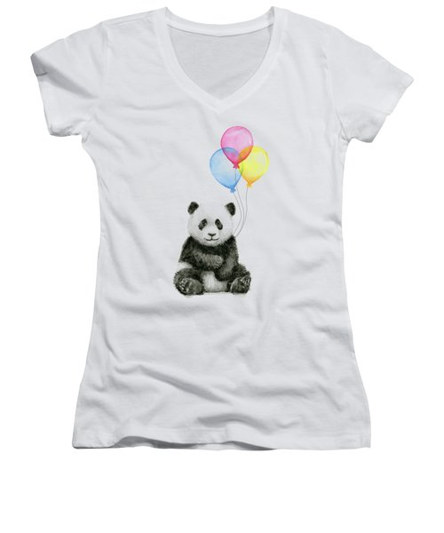 Baby Panda Watercolor With Balloons Women's V-Neck (Athletic Fit)