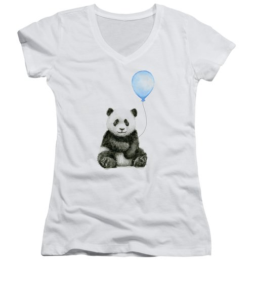 Baby Panda With Blue Balloon Watercolor Women's V-Neck (Athletic Fit)