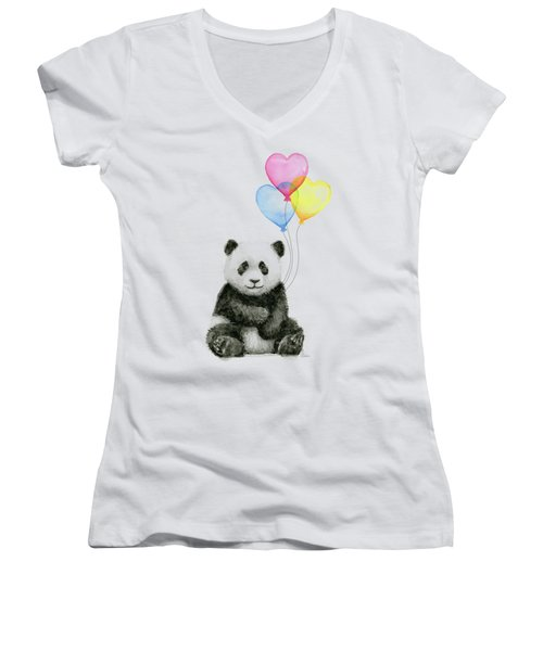 Baby Panda With Heart-shaped Balloons Women's V-Neck T-Shirt (Junior Cut) by Olga Shvartsur