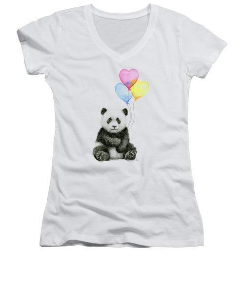 Baby Panda With Heart-shaped Balloons Women's V-Neck T-Shirt (Junior Cut) by Olga Shvartsur