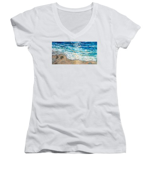 Baby Sea Turtles Iv Women's V-Neck T-Shirt
