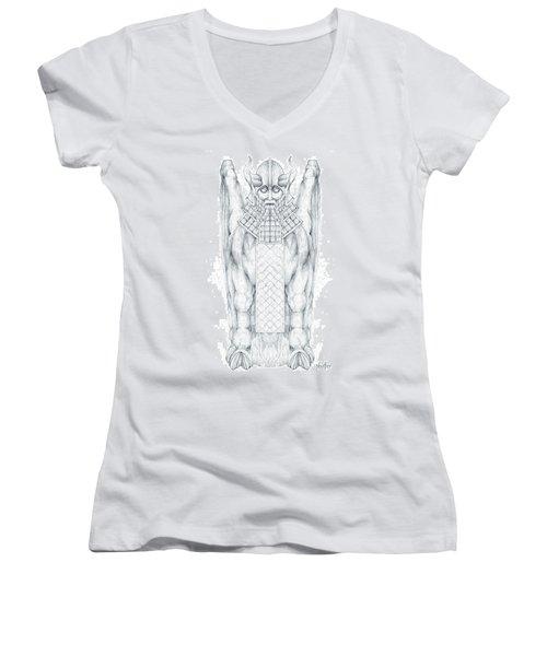 Babylonian Sphinx Lamassu Women's V-Neck T-Shirt (Junior Cut) by Curtiss Shaffer