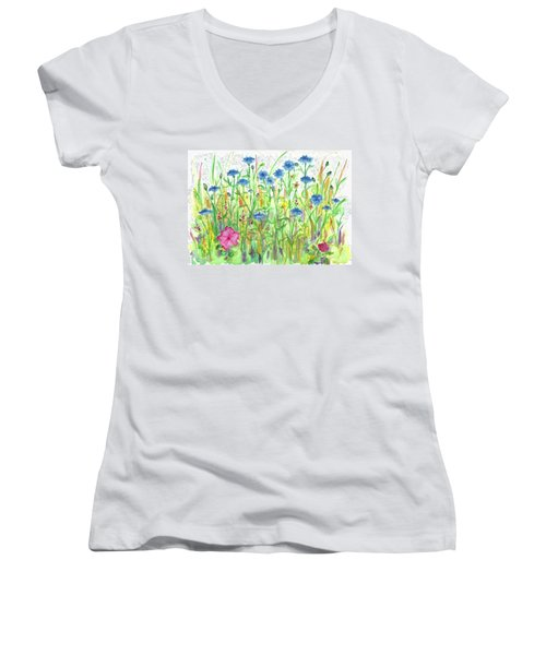 Women's V-Neck T-Shirt (Junior Cut) featuring the painting Bachelor Button Meadow by Cathie Richardson