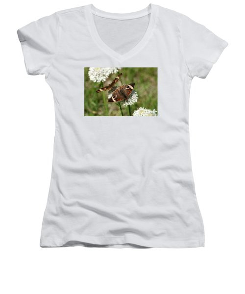 Back To Back Butterflies Women's V-Neck T-Shirt