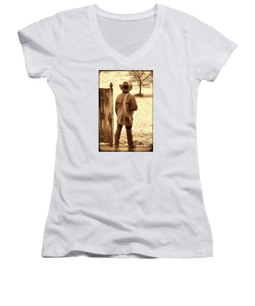 Back To Work Women's V-Neck T-Shirt (Junior Cut) by American West Legend By Olivier Le Queinec