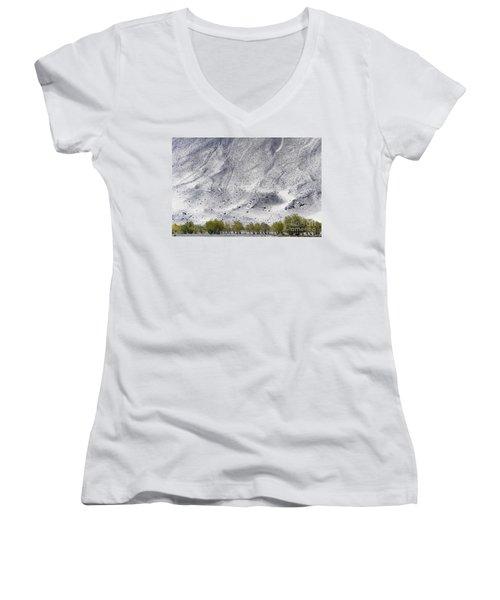 Backdrop Of Sand, Chumathang, 2006 Women's V-Neck T-Shirt (Junior Cut) by Hitendra SINKAR