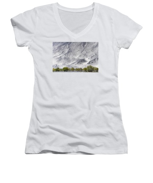 Women's V-Neck T-Shirt featuring the photograph Backdrop Of Sand, Chumathang, 2006 by Hitendra SINKAR