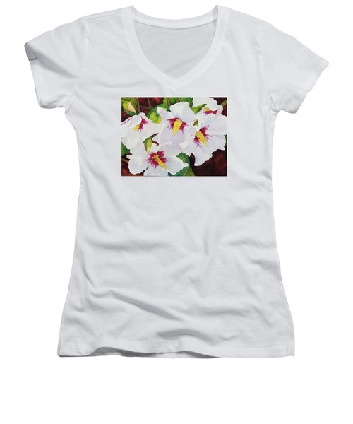 Backyard Blooms Women's V-Neck (Athletic Fit)