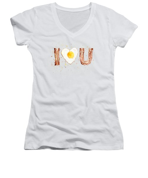 Bacon And Egg I Heart You Watercolor Women's V-Neck (Athletic Fit)