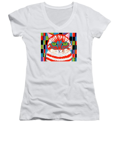 Women's V-Neck T-Shirt (Junior Cut) featuring the painting Bad Cattitude by Kathleen Sartoris