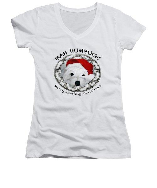 Bah Humbug Merry Woofing Christmas Women's V-Neck T-Shirt