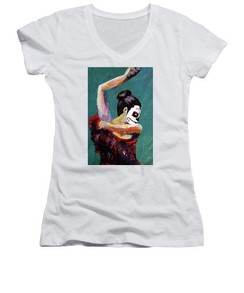 Bailan De Los Muertos Women's V-Neck (Athletic Fit)