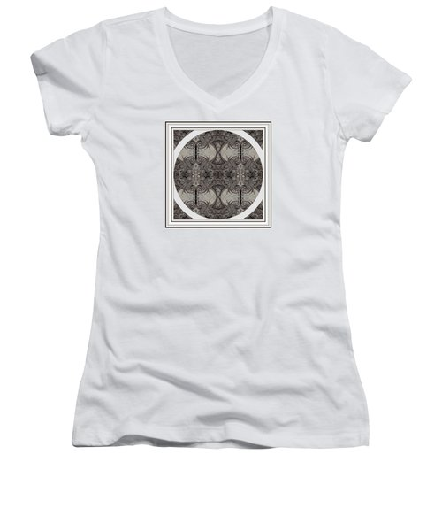 Balance Expressed In Black And White Women's V-Neck T-Shirt (Junior Cut) by Jack Dillhunt