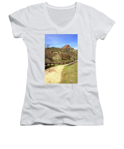 Women's V-Neck T-Shirt (Junior Cut) featuring the photograph Balconies Trail - Pinnacles National Park by Art Block Collections