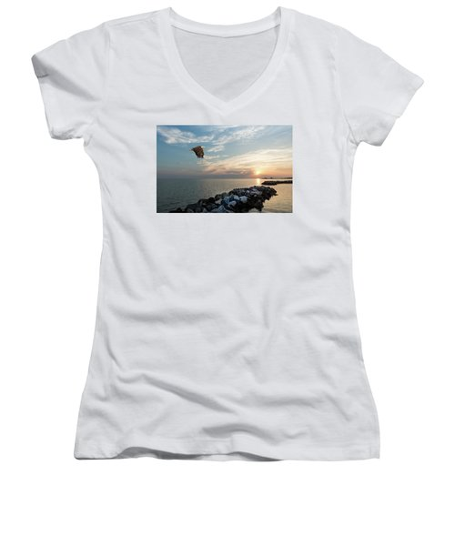 Bald Eagle Flying Over A Jetty At Sunset Women's V-Neck (Athletic Fit)
