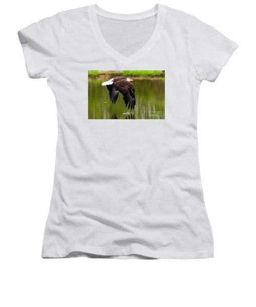 Bald Eagle Over A Pond Women's V-Neck