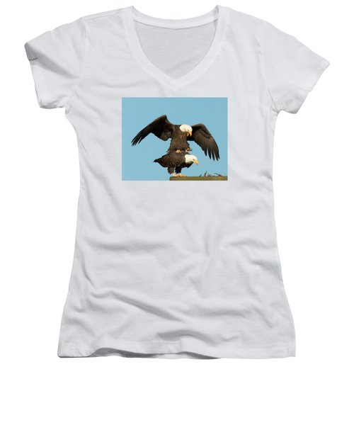 Bald Eagles Mating Women's V-Neck (Athletic Fit)