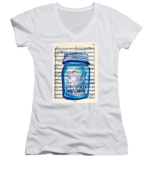 Women's V-Neck T-Shirt (Junior Cut) featuring the painting Ball Mason Jar Classical #168 by Ecinja