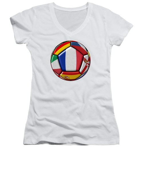 Ball With Flag Of France In The Center Women's V-Neck T-Shirt (Junior Cut) by Michal Boubin