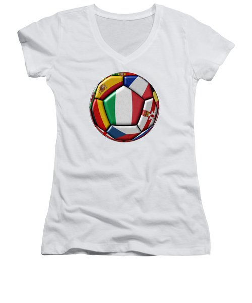 Ball With Flag Of Italy In The Center Women's V-Neck T-Shirt (Junior Cut) by Michal Boubin