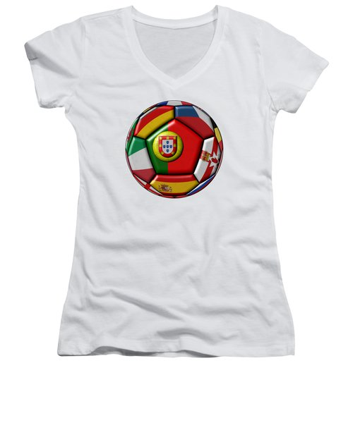 Ball With Flag Of Portugal In The Center Women's V-Neck T-Shirt (Junior Cut) by Michal Boubin