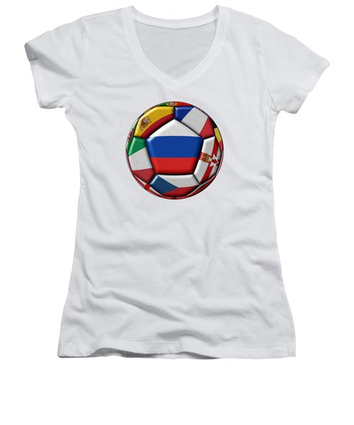 Ball With Flag Of Russia In The Center Women's V-Neck (Athletic Fit)