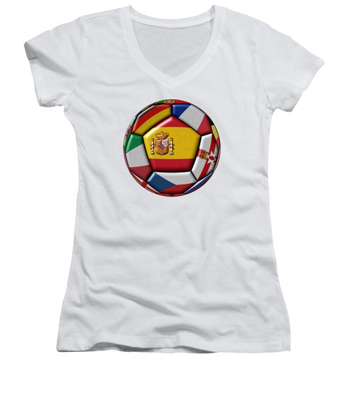 Ball With Flag Of Spain In The Center Women's V-Neck T-Shirt (Junior Cut) by Michal Boubin