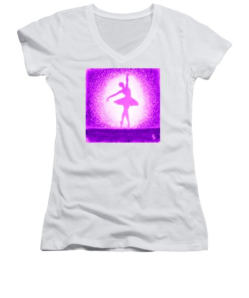 Women's V-Neck T-Shirt (Junior Cut) featuring the painting Ballerina Purple And Pink by Bob Baker