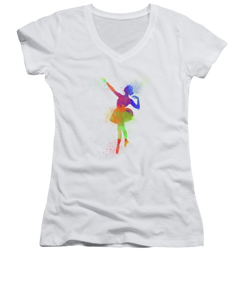Ballet Watercolor 1 Women's V-Neck T-Shirt