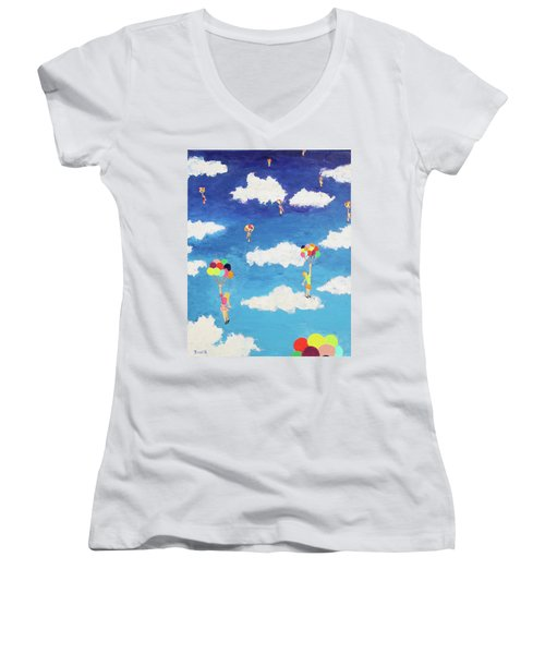 Women's V-Neck T-Shirt (Junior Cut) featuring the painting Balloon Girls by Thomas Blood