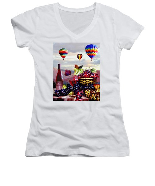 Balloon Ride At Dawn Women's V-Neck (Athletic Fit)