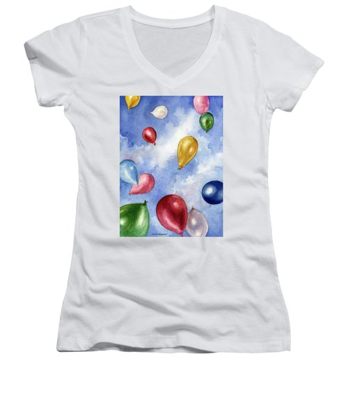 Balloons In Flight Women's V-Neck T-Shirt (Junior Cut) by Anne Gifford