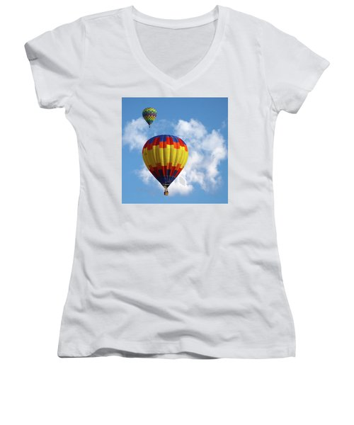 Women's V-Neck T-Shirt (Junior Cut) featuring the photograph Balloons In The Cloud by Marie Leslie