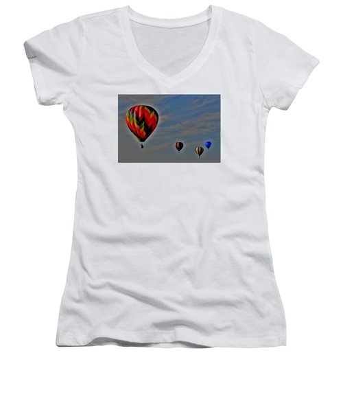 Balloons In The Sky Women's V-Neck (Athletic Fit)