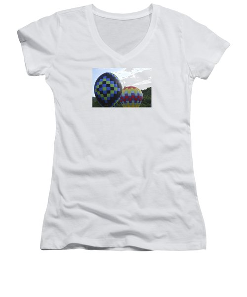 Women's V-Neck T-Shirt (Junior Cut) featuring the photograph Balloons Waiting For The Weather To Clear by Linda Geiger