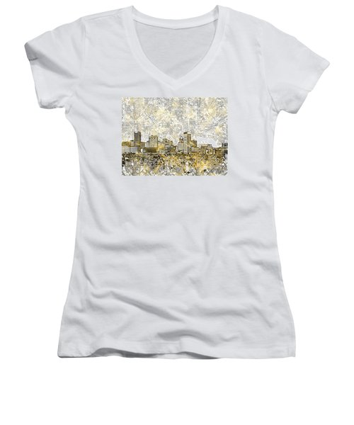 Women's V-Neck T-Shirt (Junior Cut) featuring the painting Baltimore Skyline Watercolor 8 by Bekim Art