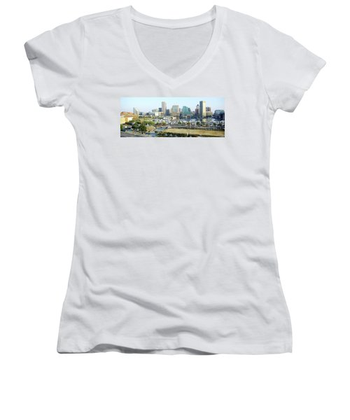 Women's V-Neck T-Shirt (Junior Cut) featuring the photograph Baltimore's Inner Harbor by Brian Wallace