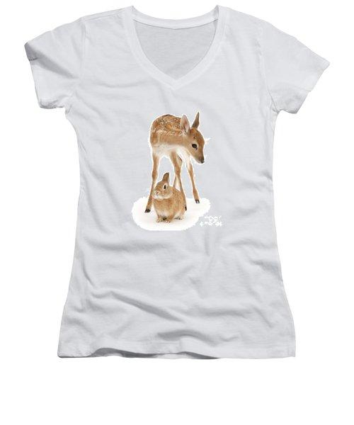 Bambi And Thumper Women's V-Neck T-Shirt