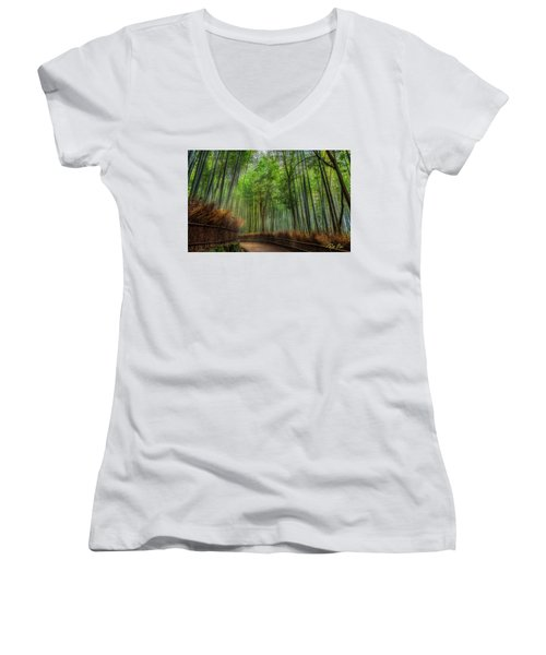 Women's V-Neck T-Shirt featuring the photograph Bamboo Path by Rikk Flohr