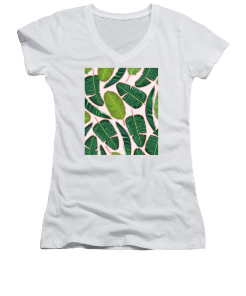 Banana Leaf Blush Women's V-Neck T-Shirt