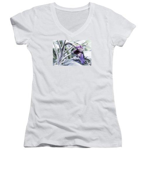 Women's V-Neck T-Shirt (Junior Cut) featuring the photograph Banana Beginnings In Cool Shades by Kerri Ligatich