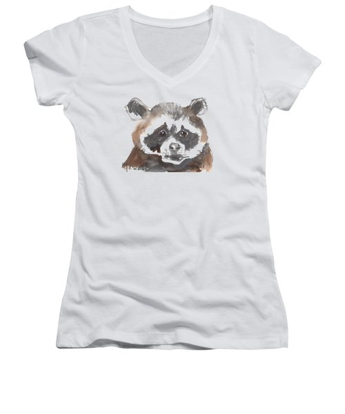 Bandit Raccoon Women's V-Neck T-Shirt (Junior Cut) by Kathleen McElwaine
