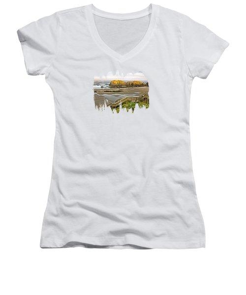 Bandon Beach Stairway Women's V-Neck T-Shirt