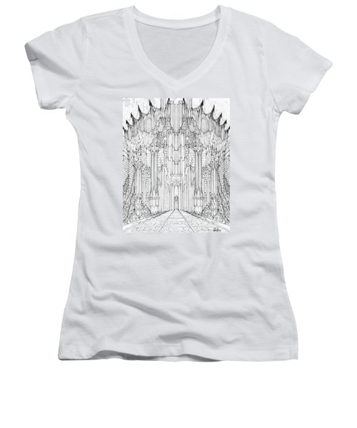 Barad-dur Gate Study Women's V-Neck T-Shirt