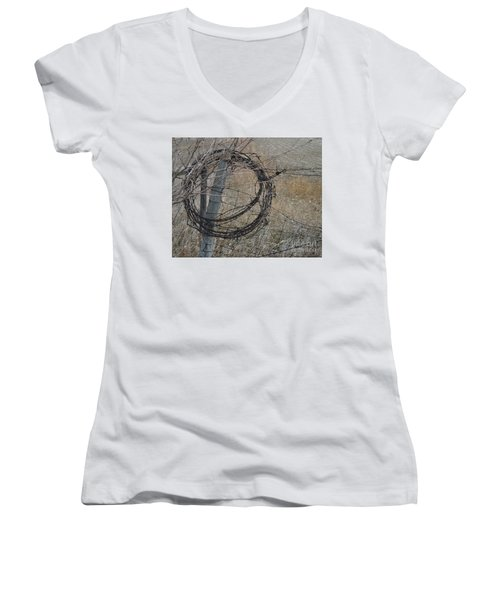 Barbed Wire Women's V-Neck T-Shirt (Junior Cut) by Renie Rutten