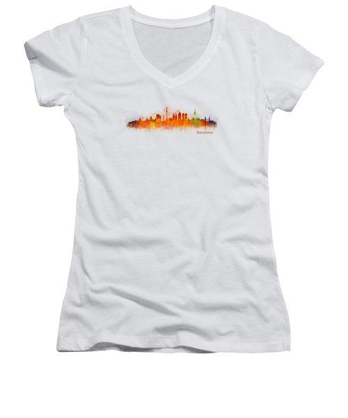 Barcelona City Skyline Hq _v3 Women's V-Neck T-Shirt (Junior Cut)
