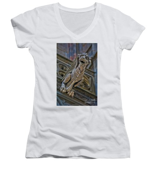 Barcelona Dragon Gargoyle Women's V-Neck (Athletic Fit)