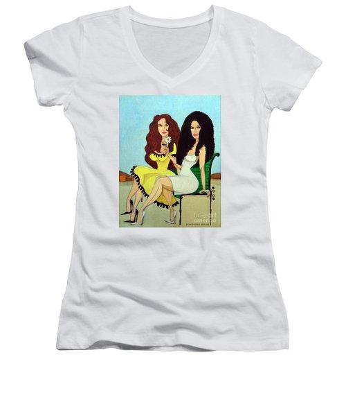 Barcelona Girls Women's V-Neck T-Shirt (Junior Cut) by Don Pedro De Gracia