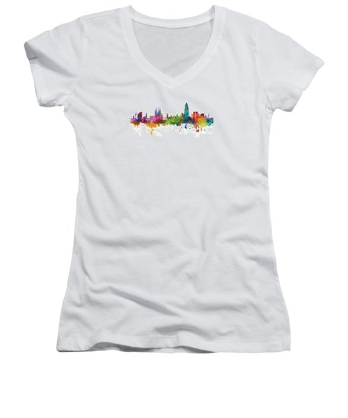 Barcelona Spain Skyline Panoramic Women's V-Neck (Athletic Fit)